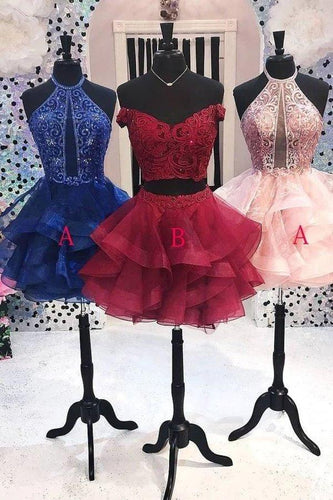 Cute A Line Two Pieces Burgundy Homecoming Dresses Beads Short Prom XHMPST11667