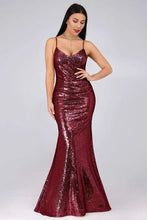 Load image into Gallery viewer, Sexy Spaghetti Straps Burgundy Sequins V Neck Party Dresses Mermaid Prom Dresses XHMPST15358