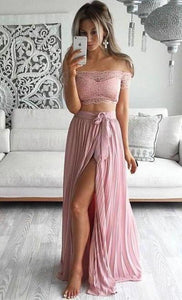 Two Piece Lace Top Off the Shoulder Short Sleeves Thigh-High Slit Sexy Evening XHMPST14241