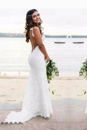 Sexy Lace Mermaid Spaghetti Straps V Neck Backless Beach Wedding Dresses uk XHMPST14934