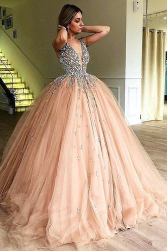 Unique Ball Gown V Neck Sleeveless Beading Tulle Prom Dresses Quinceanera XHMPST14317