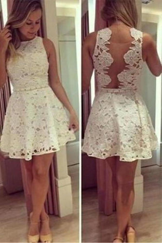 See through Lace Short A-Line Cute Sexy Cheap Dresses for Homecoming Graduation XHMPST13470