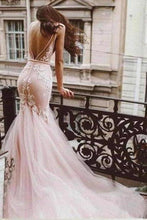 Load image into Gallery viewer, Sexy Pink Tulle Mermaid Wedding Dresses Backless V Neck Lace Bodice Bridal XHMPST13653