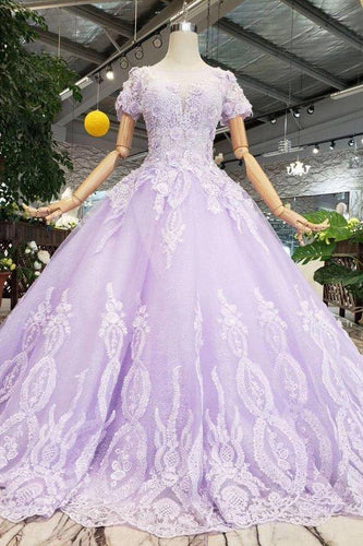 Unique Short Sleeve Lilac Ball Gown Appliques Beading Prom Dress Quinceanera XHMPST14370