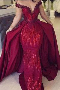 Mermaid Off the Shoulder Burgundy Long Sleeves V Neck Prom Dresses with Detachable Train XHMPST15263