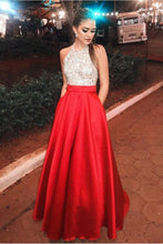 Load image into Gallery viewer, Sparkly Open Back Halter Beading Red Long Prom Dresses with Pockets Party XHMPST14084