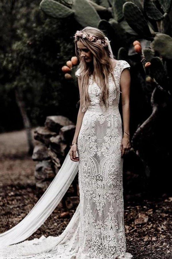 Vintage Lace V Neck Rustic Wedding Dresses Cap Sleeve Ivory Sheath Beach Wedding XHMPST14461