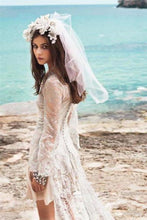 Load image into Gallery viewer, Spanish Summer Long Sleeve A-Line Lace Boho Beach Appliques Wedding XHMPST14071