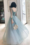 Elegant Long Sleeves Appliqued Tulle Prom Dresses Floor Length Appliques Evening Dresses XHMPST15175