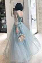 Load image into Gallery viewer, Elegant Long Sleeves Appliqued Tulle Prom Dresses Floor Length Appliques Evening Dresses XHMPST15175