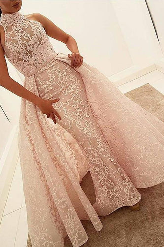 Mermaid High Neck Court Train Detachable Light Pink Lace Quinceanera Dress Prom XHMPST12760