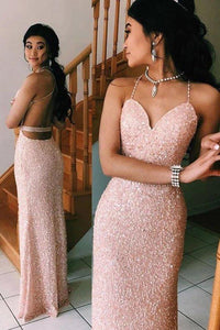 Sexy Spaghetti Straps V Neck Pink Rose Gold Prom Dresses Backless Evening XHMPST13711