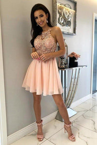 Unique Halter Chiffon Criss Cross Beads Short Sweet 16 Dresses Homecoming XHMPST14335