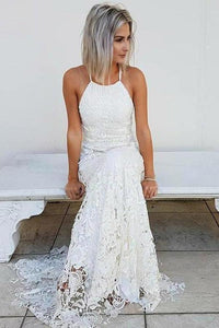 Simple Halter Mermaid Lace Appliques Wedding Dress Backless Beach Bridal XHMPST13906