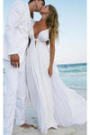 Sexy Deep V Neck White Chiffon Beach Elegant A-Line Bridal Floor-Length Wedding XHMPST13569