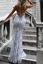 Load image into Gallery viewer, Sexy V-Neck Spaghetti Straps Grey Mermaid Sequined Backless Sleeveless Evening XHMPST13749