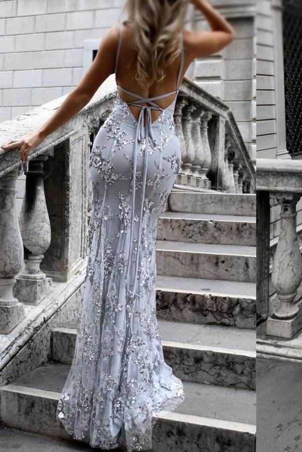 Sexy V-Neck Spaghetti Straps Grey Mermaid Sequined Backless Sleeveless Evening XHMPST13749