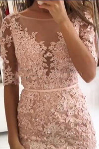 Sheath Pink Lace Appliques Beads Homecoming Dresses with Half Sleeve Prom Dresses XHMPST14937
