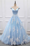 2020 Sky Blue Appliques Charming Ball Gown Off-the-Shoulder V-Neck Prom XHMPST10100
