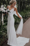 Spaghetti Straps Mermaid Backless V Neck Beach Wedding Dresses Boho Bridal XHMPST14041