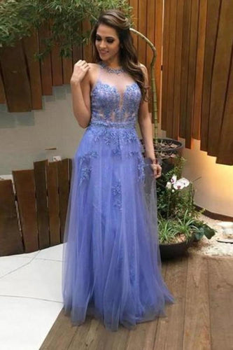 Tulle lace see-through open back sexy A-line long prom dresses XHMPST14217