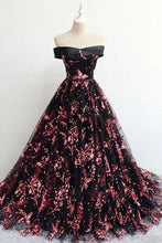 Load image into Gallery viewer, Floral Print Black Off the Shoulder Lace Appliques Prom Dresses with Lace up XHMPST14898
