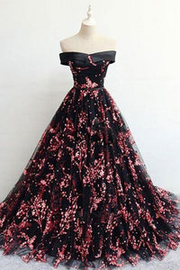 Floral Print Black Off the Shoulder Lace Appliques Prom Dresses with Lace up XHMPST14898