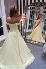 Load image into Gallery viewer, A Line Off the Shoulder Sweetheart Yellow Prom Dresses Long Formal Dresses XHMPST15551