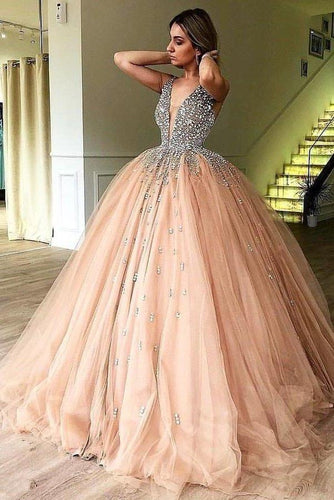 Unique Ball Gown V Neck Sleeveless Beading Tulle Prom Dresses Quinceanera XHMPST14316