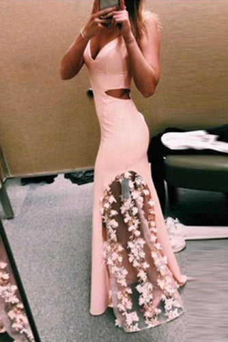 Unique Pink Lace Satin Mermaid Long Prom Dresses V Neck Cheap Evening XHMPST14356