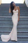 Sweetheart Strapless Prom Dresses Simple Long Mermaid Satin Evening XHMPST14198