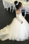 Long Sleeve Tulle Ivory Scoop Flower Girl Dresses with Lace Bowknot Baby Dresses XHMPST14910