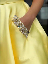 Load image into Gallery viewer, Charming A Line Yellow Satin Strapless Beads Party Dresses with Pockets XHMPST15568