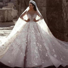 Load image into Gallery viewer, Stunning Long Sleeve Ball Gown 3D Flowers Wedding Dresses Long Wedding Gowns XHMPST15435
