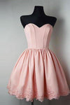 Strapless Sweetheart Short Pink Ball Gown Cute Mini Open Back Homecoming XHMPST14115