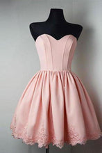 Load image into Gallery viewer, Strapless Sweetheart Short Pink Ball Gown Cute Mini Open Back Homecoming XHMPST14115
