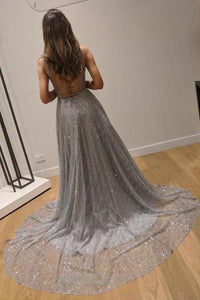 Chic A-Line Silver Backless V Neck Fashion Custom Unique Long Prom Dresses XHMPST15130