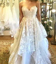 Load image into Gallery viewer, A-line 3D Lace Appliques V Neck Strapless Wedding Dresses Chapel Train Wedding Gowns XHMPST14851