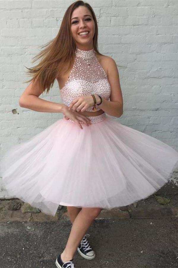 Two Pieces Pretty Sexy Charming Beading Halter Tulle Blush Pink Homecoming XHMPST14286