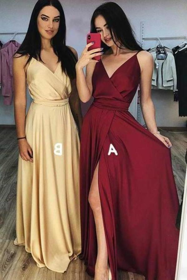 A line Burgundy Ruffles V Neck Elastic Satin Prom Dresses with High XHMPST10182