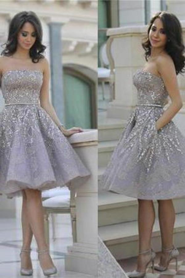 Short Gorgeous Strapless Popular Sparkly Unique Knee-Length Homecoming XHMPST13800