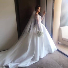 Load image into Gallery viewer, Ball Gown Long Sleeve Ivory Satin Wedding Dresses with Lace Long Bridal Dresses XHMPST14865
