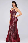 Sexy Spaghetti Straps Burgundy Sequins V Neck Party Dresses Mermaid Prom Dresses XHMPST15358