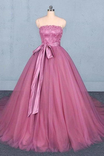 Princess Ball Gown Strapless Wedding Dresses with Lace Quinceanera Dresses XHMPST15295