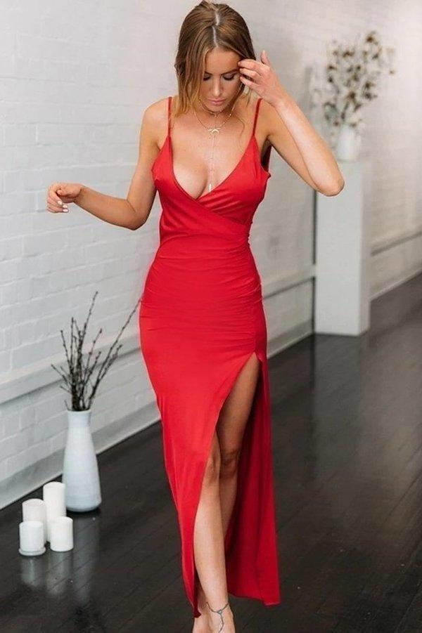 Simple Spaghetti Straps Red Mermaid V Neck Prom Dress with High Slit Open Back Dance Dress XHMPST15401