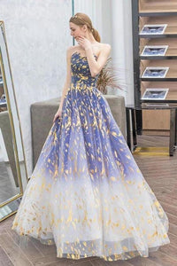 Charming Ombre Puffy Strapless Sparkly Prom Dress Sexy Long Sleeveless Party Dresses XHMPST15118