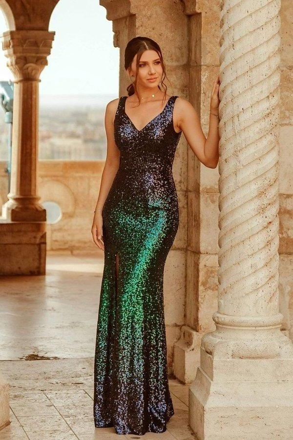 Sexy V Neck Sequin Evening Dress with Thigh High Slit Straps Green Long Prom Dresses XHMPST15367