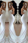 White Prom Dresses 2020 Long Trumpet/Mermaid Straps Chiffon Prom XHMPST14514