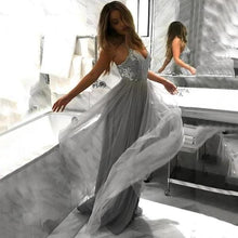 Load image into Gallery viewer, Flowy A Line Spaghetti Straps Grey Tulle Long Prom Dresses Cheap Dance Dresses XHMPST15228