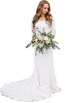 Vintage A Line Bohemian Lace Chiffon 3/4 Sleeve Scoop Wedding Gowns Bridal XHMPST14444